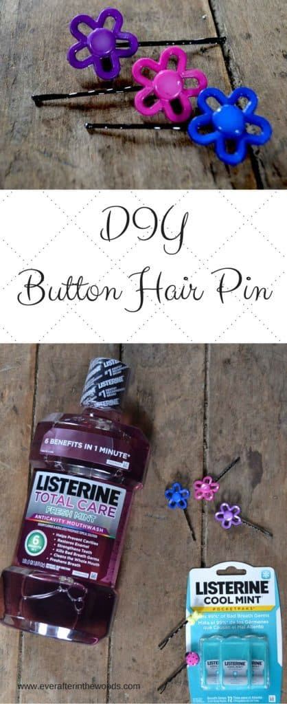 A simple and easy bold DIY for creating hair pins with buttons for cute short hair. These are a perfect accessory for both long and short hair styles.