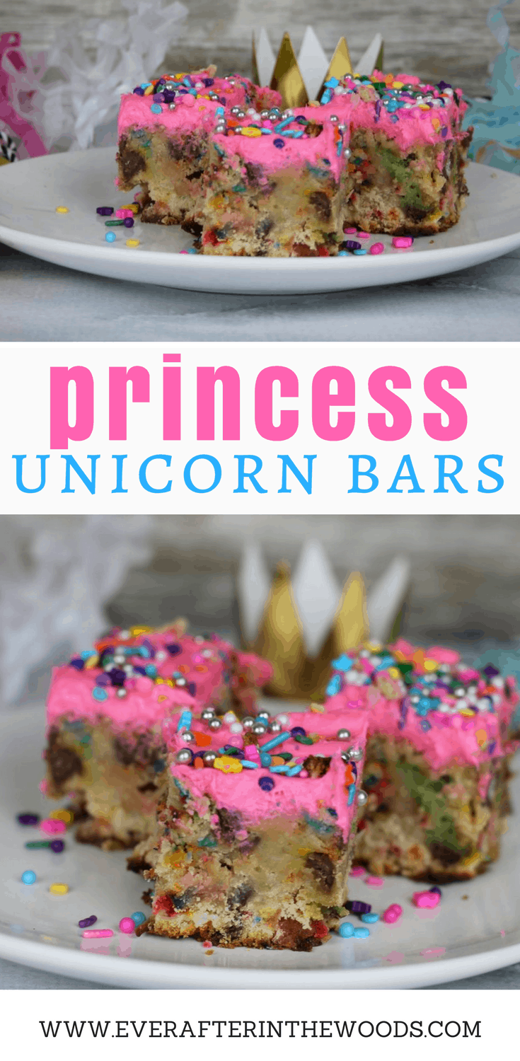 easy to make unicorn princess fairy cookie bars
