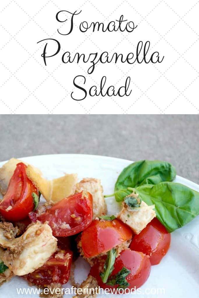 An easy and delicious tomato panzanella salad recipe. A perfect pairing with Smithfield All Natural Pork Chops for BBQ season this Spring.