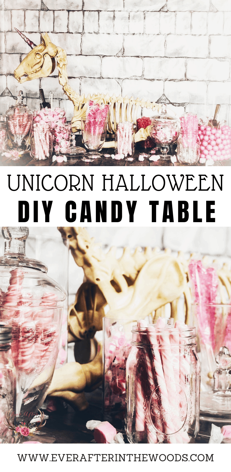 unicorn halloween candy table