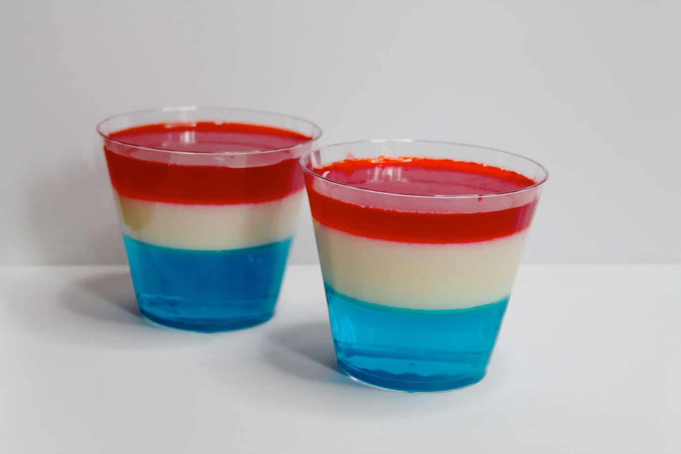 fourth of july layered jello dessert | layered jello cups|