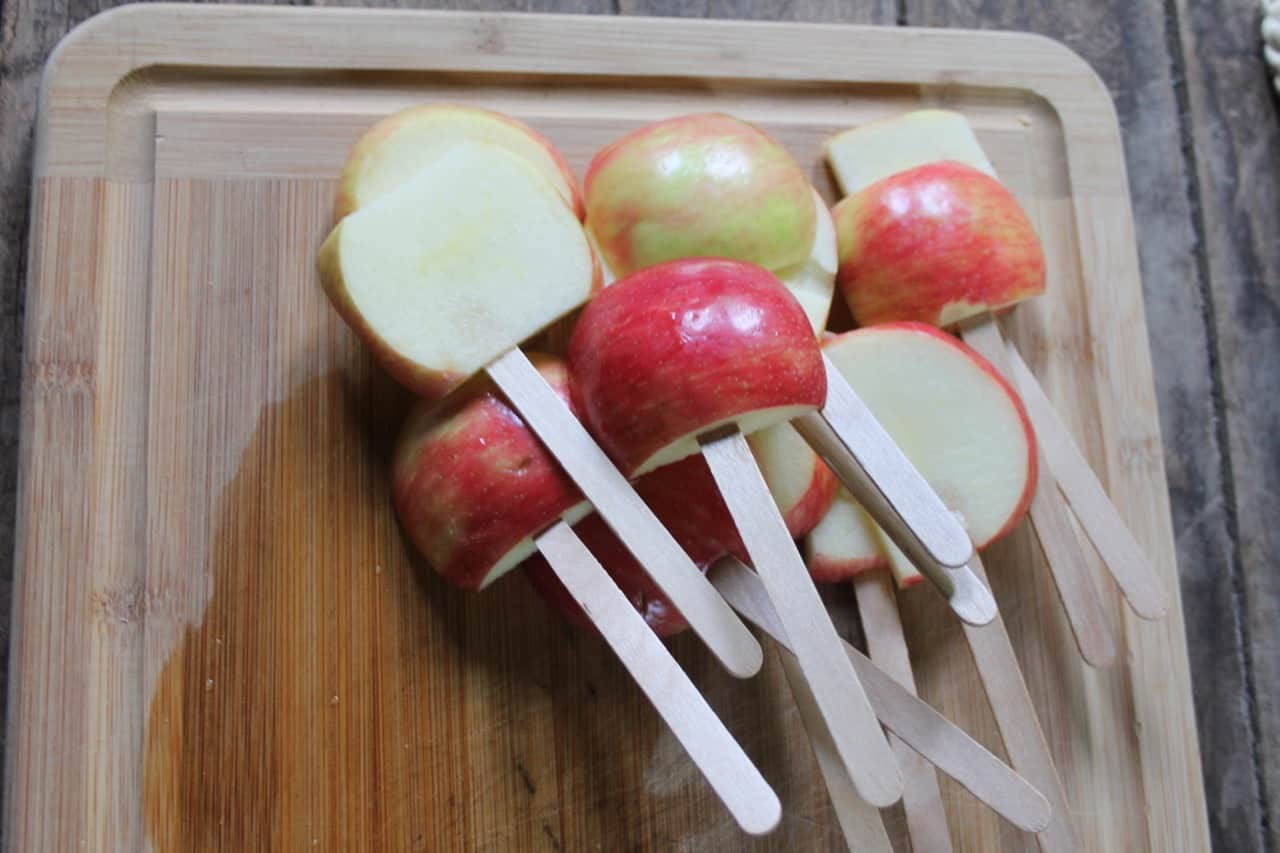apple sticks for making caramel apples
