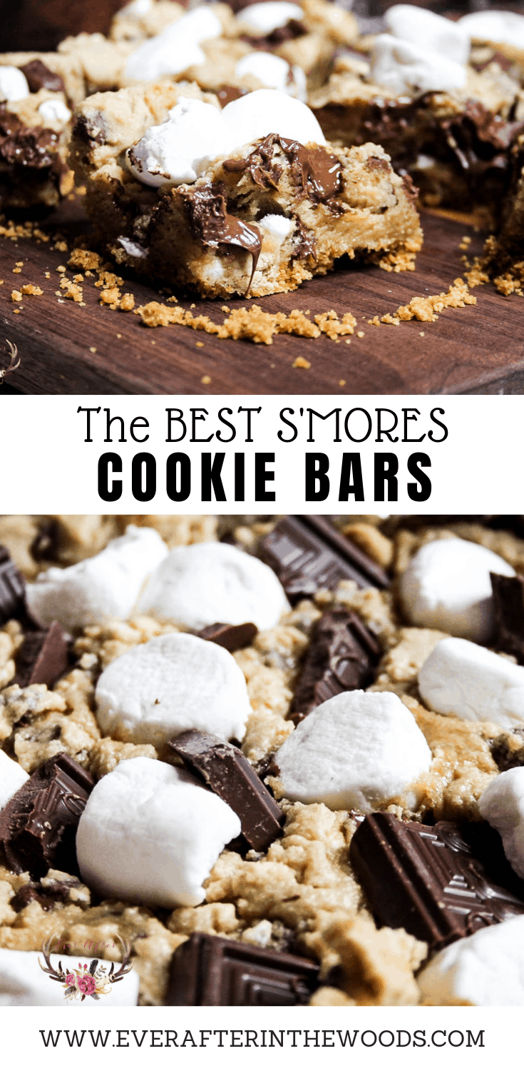 the bes s'mores cookie bars with chocolate marshmallow