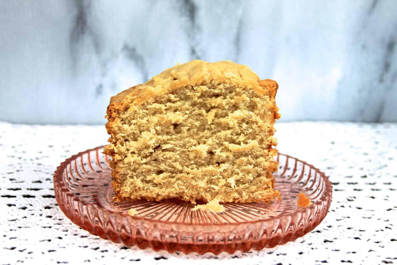 mile high brown sugar pound cake slice caramel color