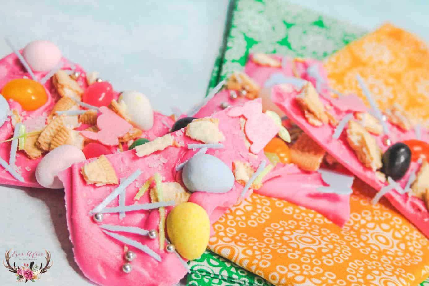 pink bunny bark | chocolate bark | pink chocolate bark
