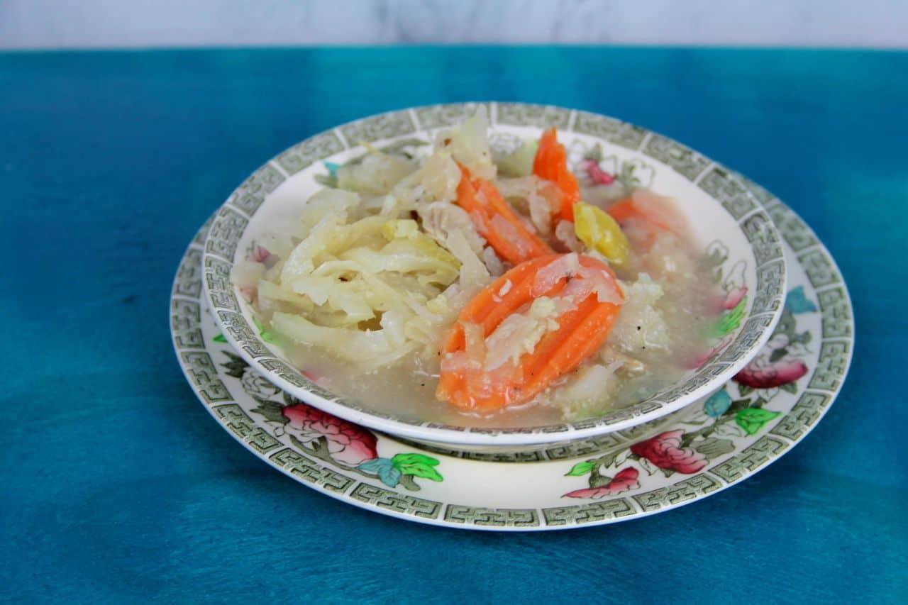 hearty pork cabbage sauerkraut soup