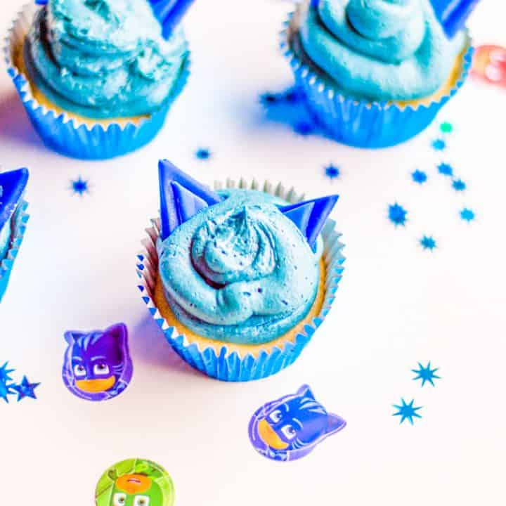 Cat Boy Cupcakes – Perfect for PJ Masks Birthday Party
