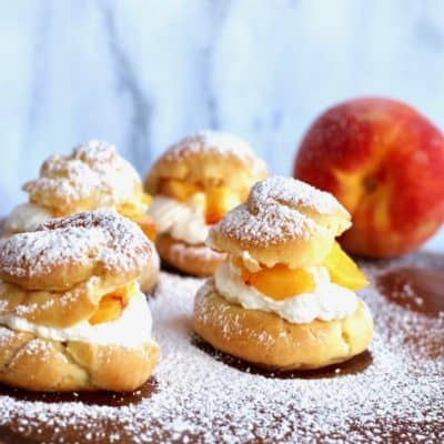 Cream Puffs with Peach Chantilly Cream