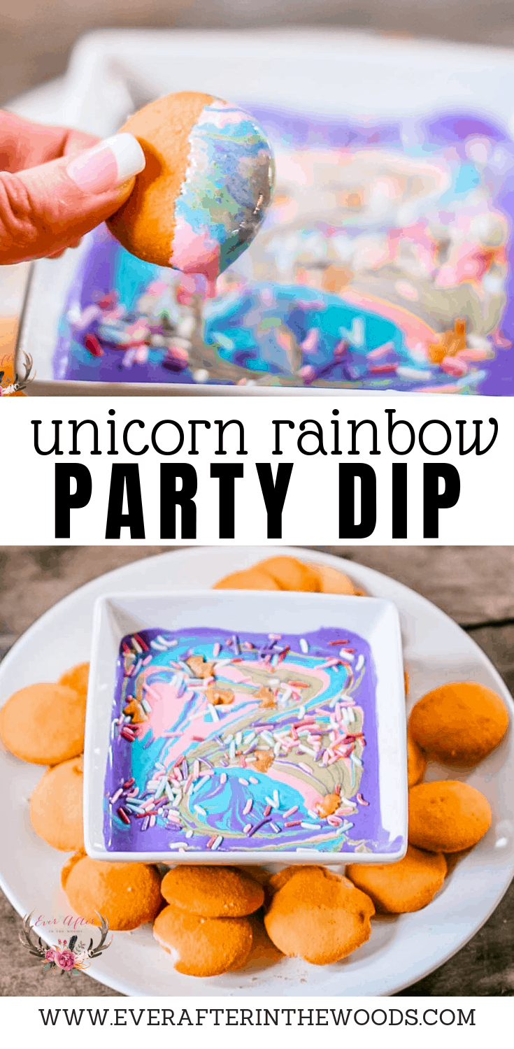 unicorn poop rainbow dip for unicorn inspired birthday parties
