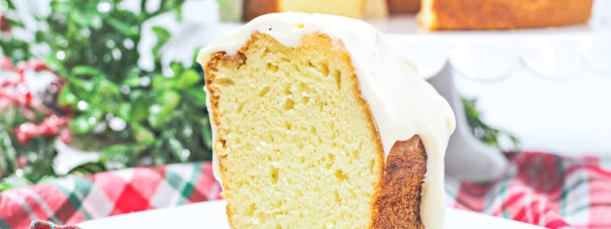 eggnog cake with boozy cream cheese frosting