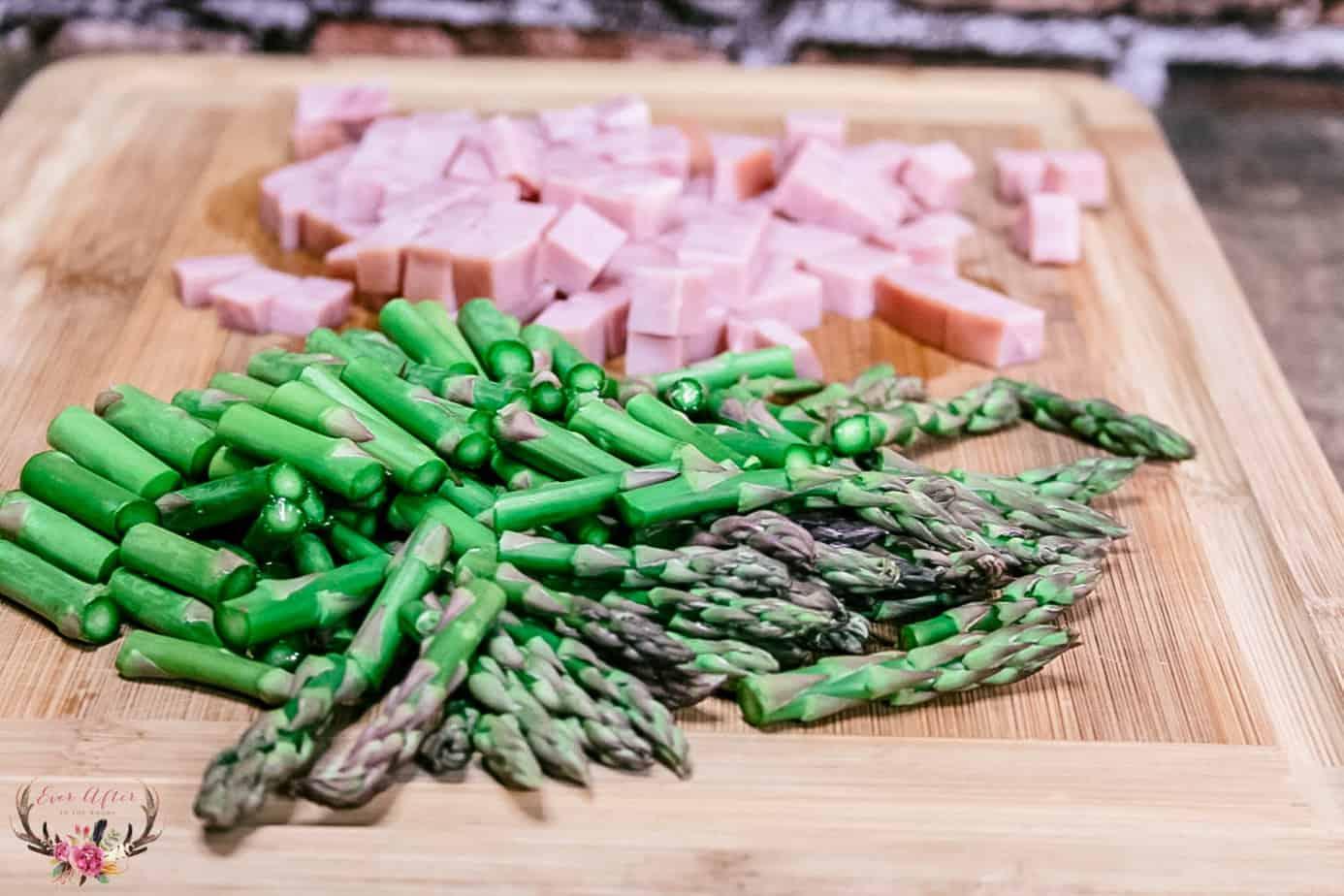 cut ham cut asparagus