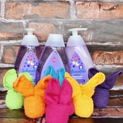 Cute Washcloth Bunnies for Baby Shower Gift with JOHNSON'S®