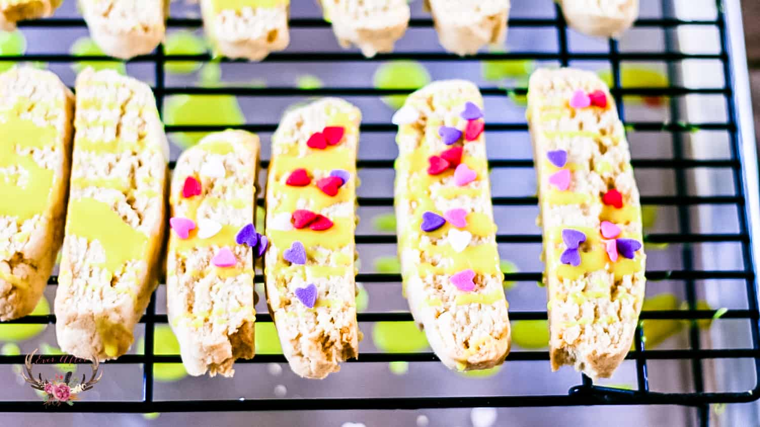 biscotti with drizzle and sprinkles