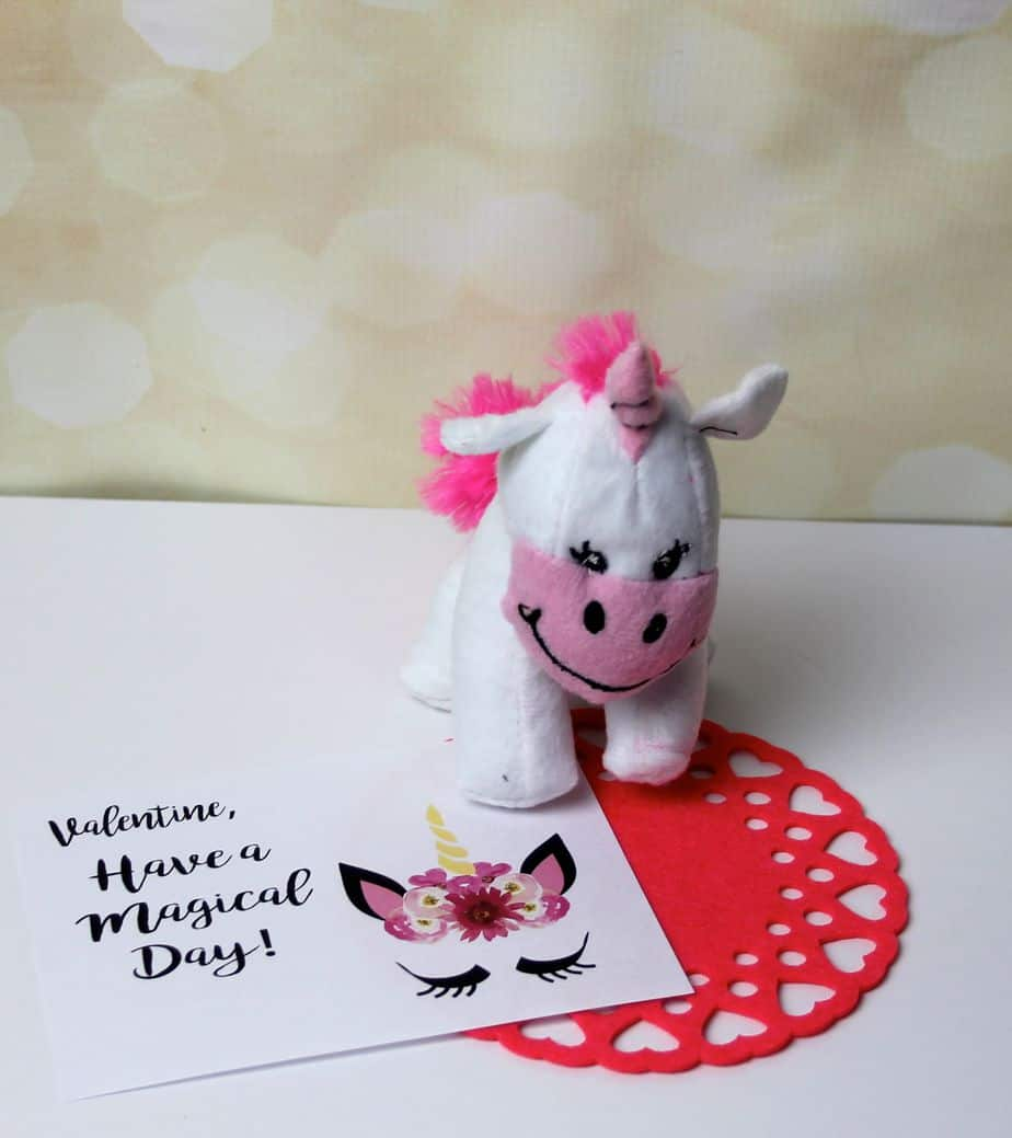unicorn plush and free unicorn printable valentines day non candy card