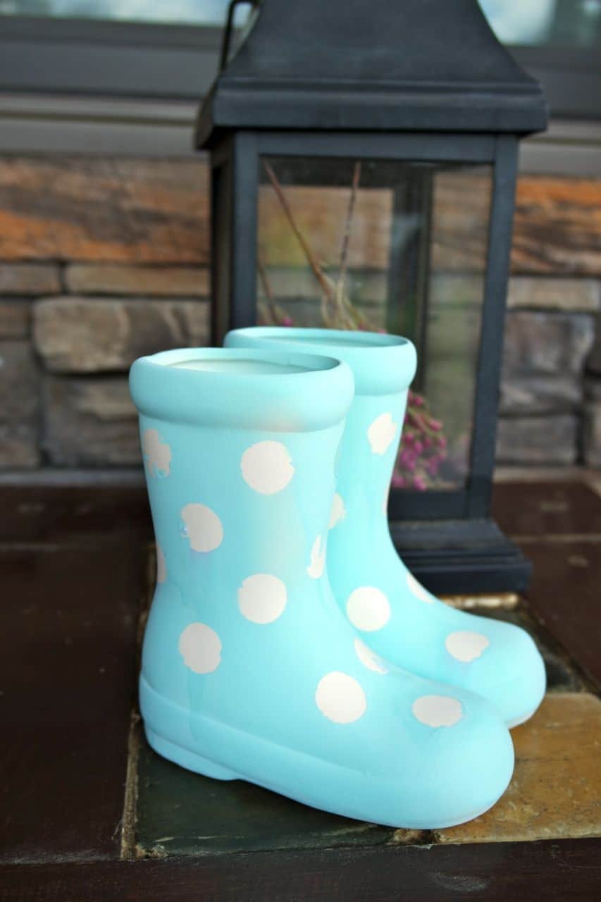 adorable easy to make rain boots planter
