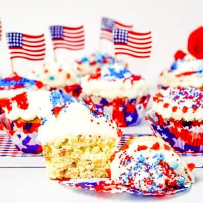 Red, White & Blue Cupcakes are perfect for Memorial Day and Fourth of July parties.