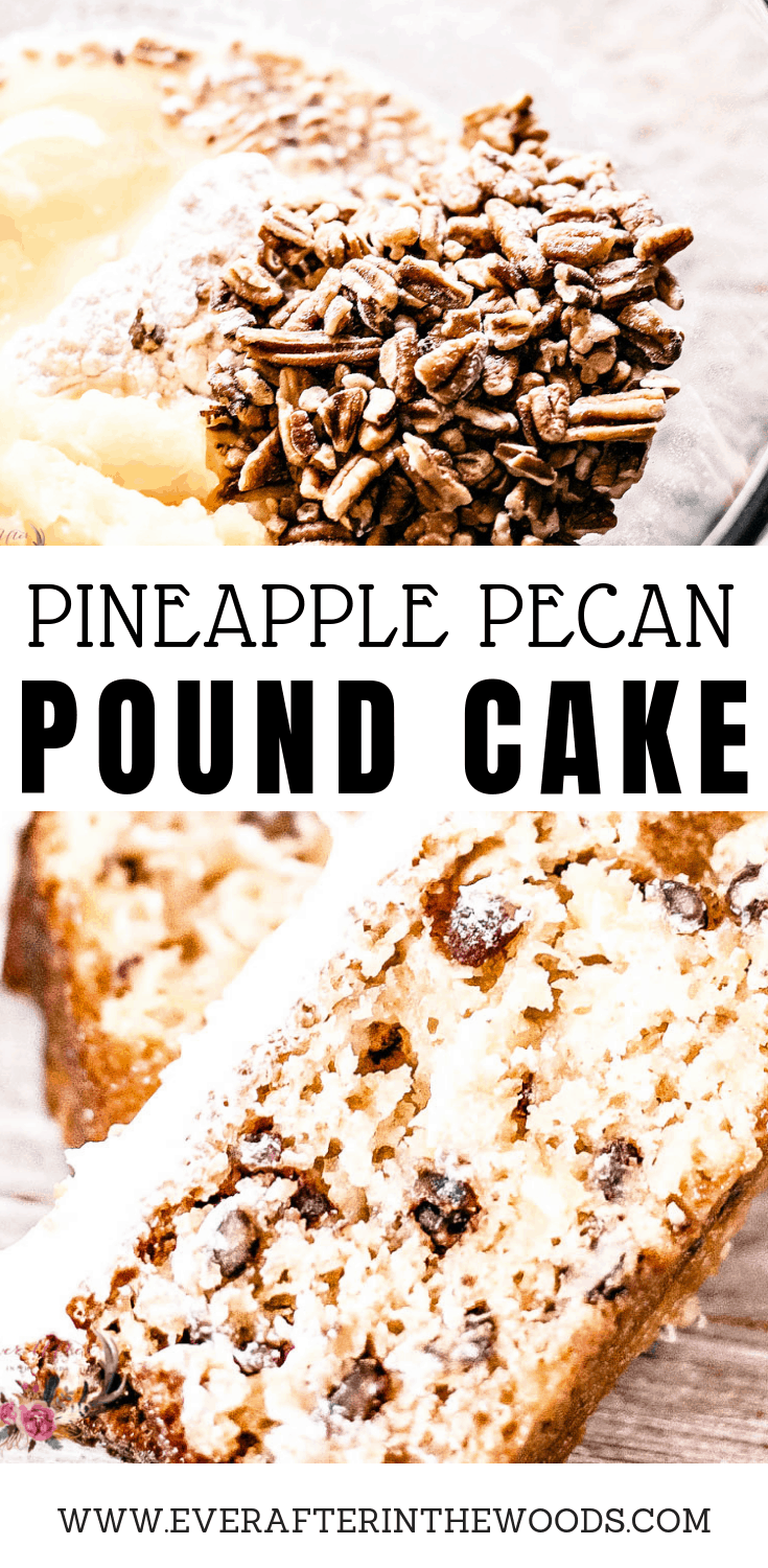 I love making cakes and this recipe for a Pineapple Pecan Pound Cake is an easy and delicious cake. Bake this cake in a loaf pan, it is moist and filled with pieces of pineapple and pecans.