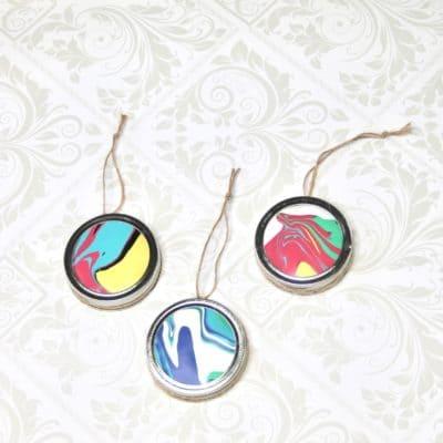 DIY Marbleized Ornaments from Mason Jar Lids + Giveaway