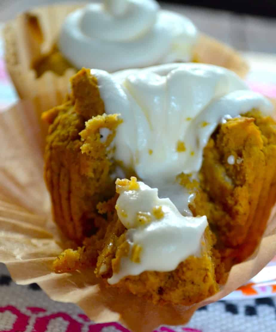 easy fall baking cupckaes stuffed with frosting