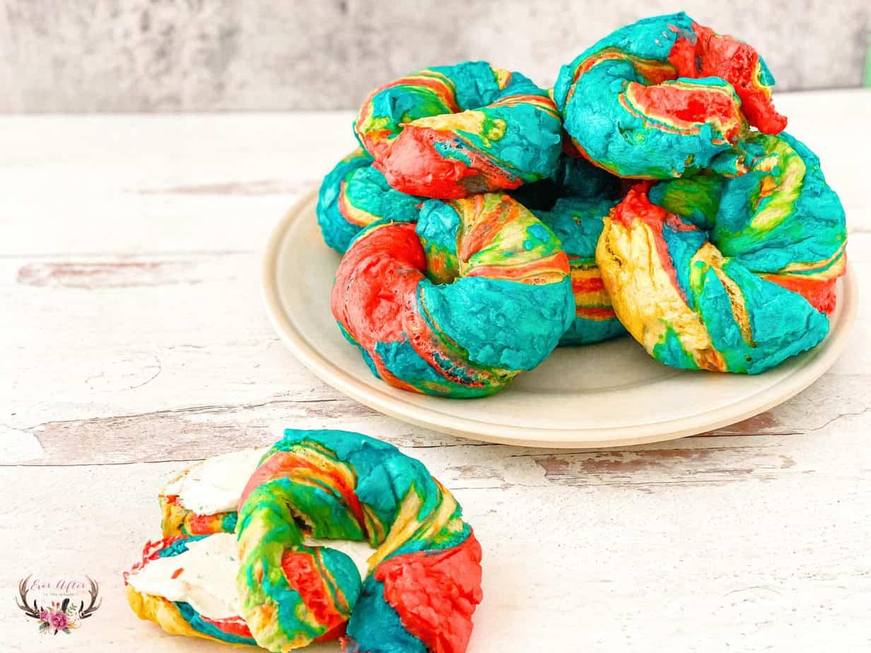 how to make rainbow | tie dye bagels