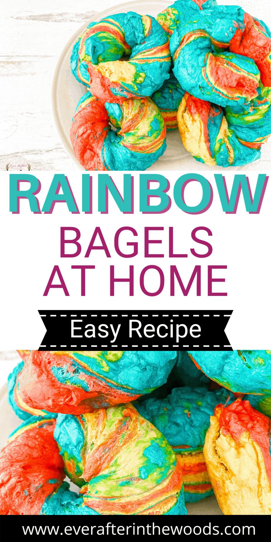 make rainbow bagels at home