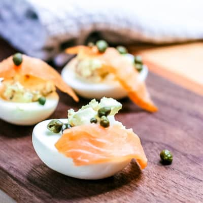 Low-Carb High-Protein Salmon Topped Eggs with Capers