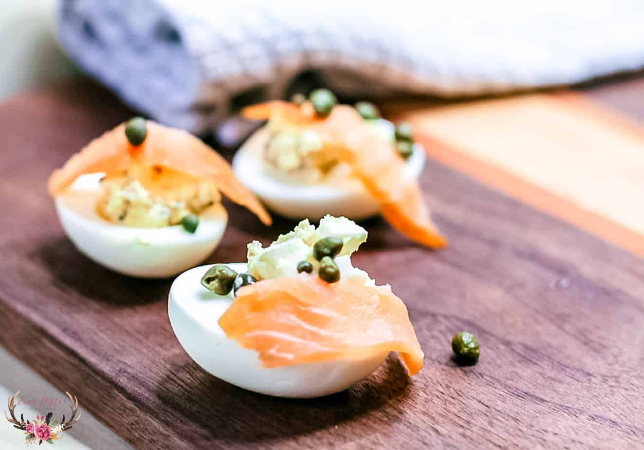 low carb salmon topped eggs with capers