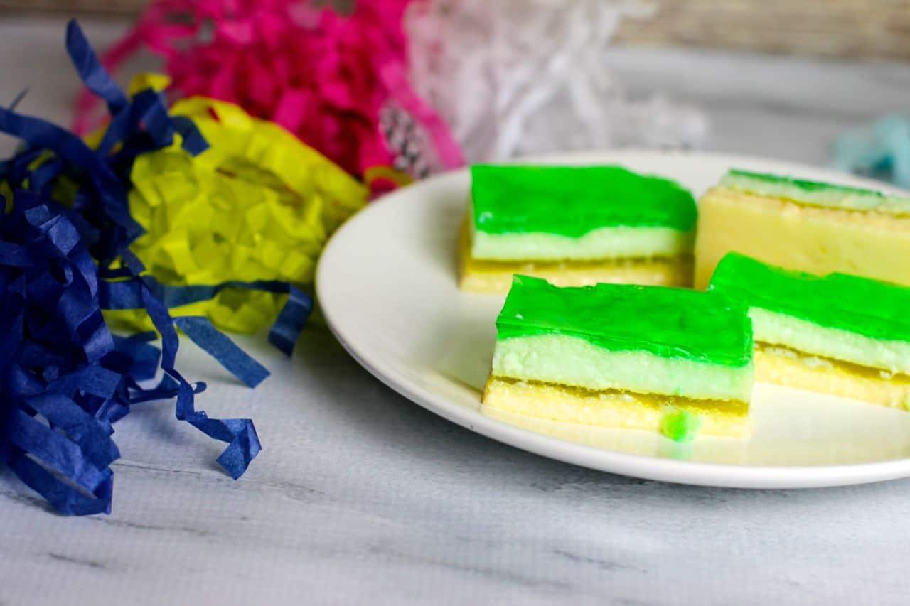 green yellow layered jello bars