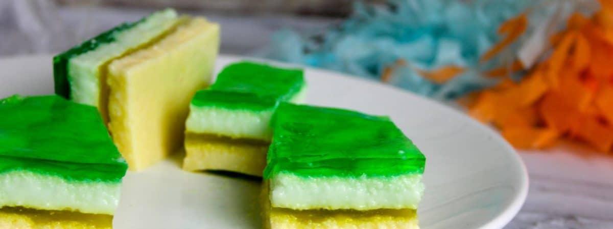 spring green yellow layered jell-o bars