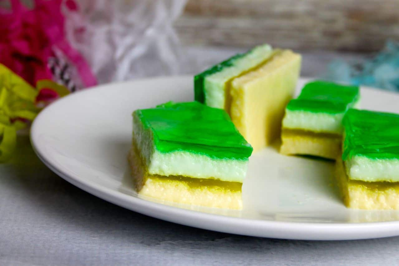 green yellow layered jell-o bars