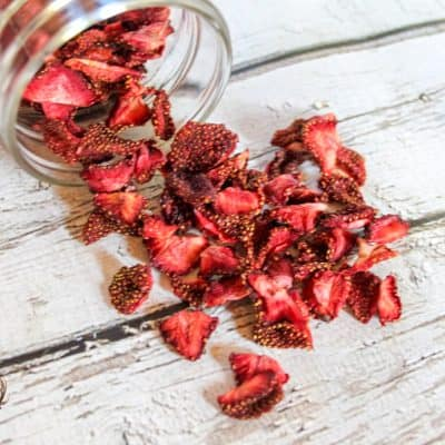 An easy recipe to dehydrate strawberries in an oven or a dehydrator. Use these berries as a salad topping or mixed into baked goods.