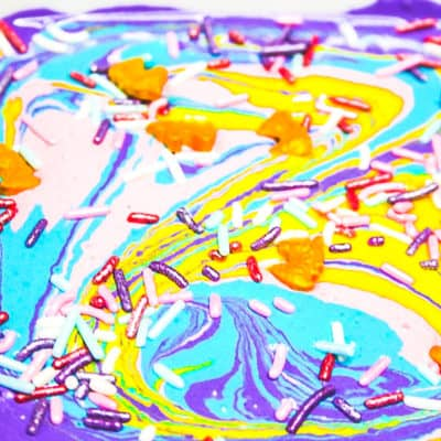 unicorn poop rainbow dip for unicorn inspired birthday parties
